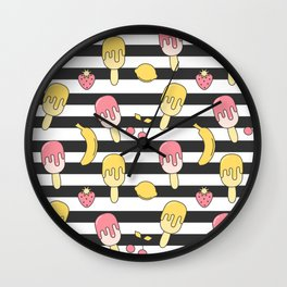 summer striped pattern with ice cream, strawberry, lemon, cherry and banana Wall Clock