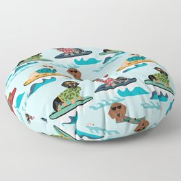 dachshund surfing dog breed pattern pet gifts Floor Pillow