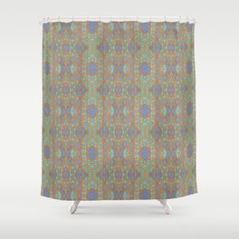 Orange and blue abstract pattern in eastern style Shower Curtain
