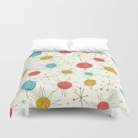 mid century Duvet Covers featuring Mid-Century Holiday Season by There is no spoon
