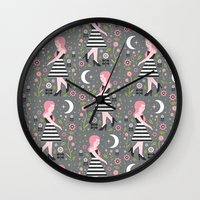 dress Wall Clocks featuring Monochrome Dress by Carly Watts