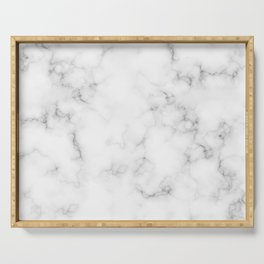 The Perfect Classic White with Grey Veins Marble Serving Tray
