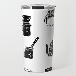 Coffee linocut foodie gifts for third wave coffee lover black and white pattern Travel Mug