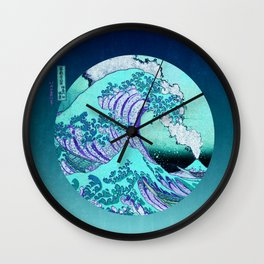 Great Wave Off Kanagawa Mount Fuji Eruption with Gradient  Wall Clock