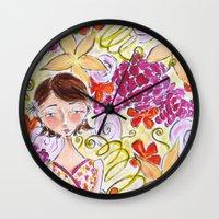 abigail larson Wall Clocks featuring Abigail by Allison Weeks Thomas