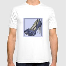 Blue sweet shoe -or....? MEDIUM White Mens Fitted Tee