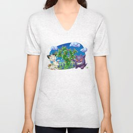 Meowth and Gengar Celebrating Holidays in Texas Unisex V-Neck