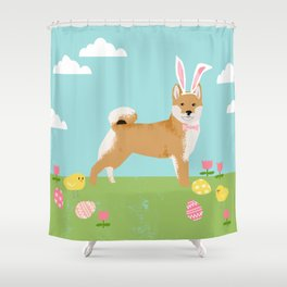Shiba Inu easter dog breed pet art dog portrait pure breed easter eggs Shower Curtain