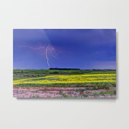 Lightning & Canola Metal Print