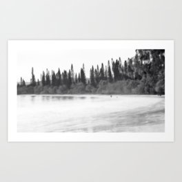 Foggy morning at the beach in black and white Art Print