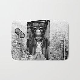 Railway Bridge Black and White Photographic Print Bath Mat