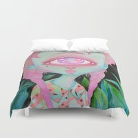 postcard Duvet Covers featuring Postcard from Venus by lOll3