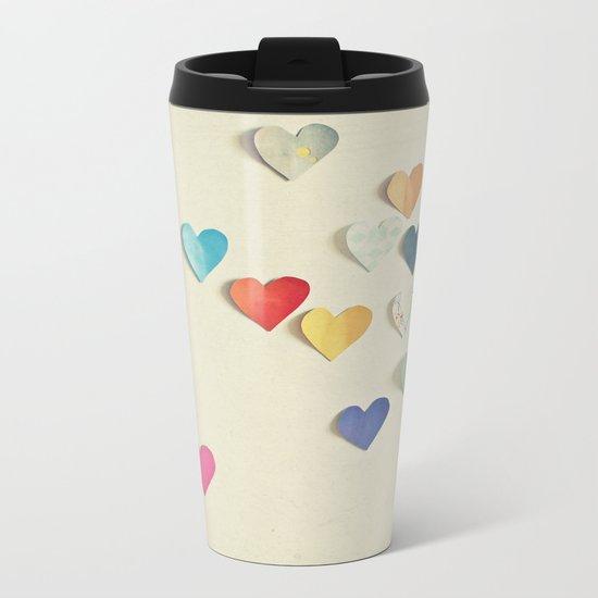 Paper Hearts Metal Travel Mug