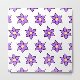 Purple Fluro Flowers Metal Print