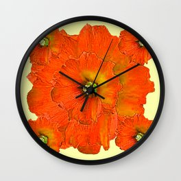 ORANGE DOUBLE  HOLLYHOCK FLOWERS YELLOW GARDEN Wall Clock