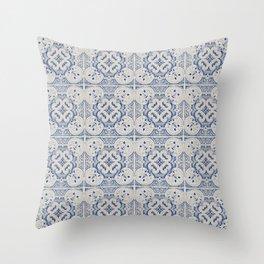 Vintage blue tiles pattern Throw Pillow