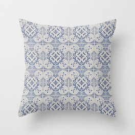 Vintage blue tiles pattern Throw Pillow