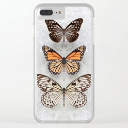 Three Speckled Butterflies Clear iPhone Case