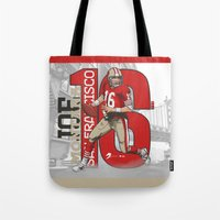 nfl Tote Bags featuring NFL Legends: Joe montana 49ers by Akyanyme