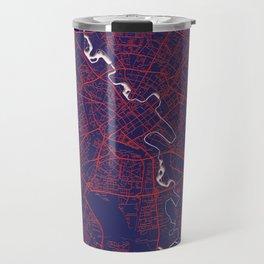 Minsk, Belarus, Blue, White, City, Map Travel Mug