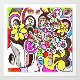 Human flourishing (flowers texture) Art Print