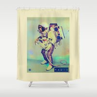 radio Shower Curtains featuring Radio Wreckage by Thomas Orrow