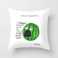 rubyetc Throw Pillows featuring melondramatic by rubyetc