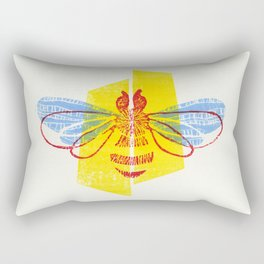 Be Safe - Save Bees linocut Rectangular Pillow
