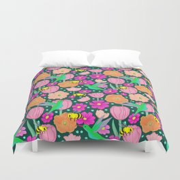 Hummingbirds and Bees Spring Pollinator Floral Duvet Cover