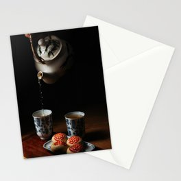 Pouring tea to the cup Stationery Cards