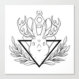 Lunar Rabbit / Jackalope // Black Canvas Print