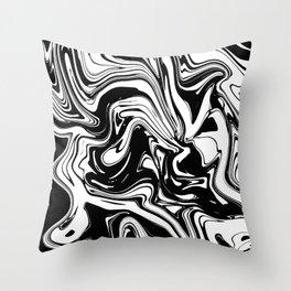 Liquid Marble B&W 028 Throw Pillow