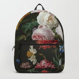 Jan Davidsz de Heem - Still Life with Flowers in a Glass Vase Backpack