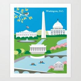 Washington, D.C. - Skyline Illustration by Loose Petals Art Print