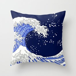Great Blue Wave Throw Pillow