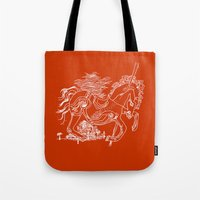 catcher in the rye Tote Bags featuring The Catcher In The Rye (Red) by Jeremy Jon Myers