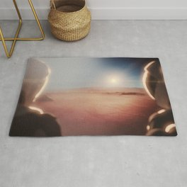 SpaceX Mission to Mars Martian Astronaut on Martian Landscape Rug