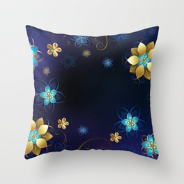 Blue Background with Flowers Throw Pillow