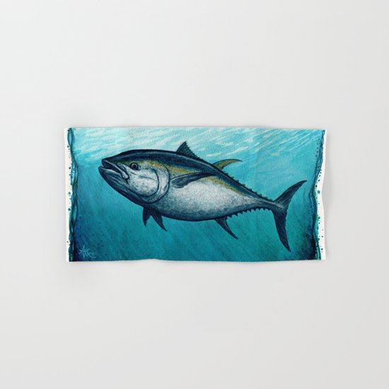 Bluefin Tuna ~ Watercolor Hand & Bath Towel