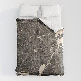 copenhagen map ink lines 2 Comforters