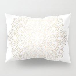 Mandala White Gold Shimmer by Nature Magick Pillow Sham