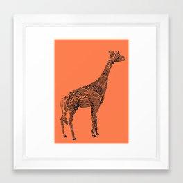 Designer Giraffe Coral Framed Art Print