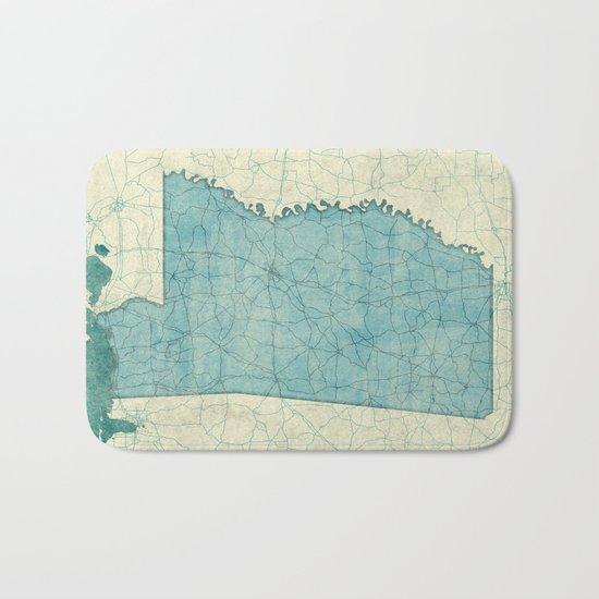 Mississippi State Map Blue Vintage Bath Mat