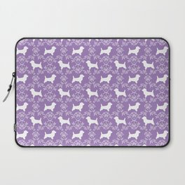 Cairn Terrier silhouette florals purple and white minimal dog breed basic dog pattern Laptop Sleeve