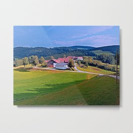 Small village skyline with cloudy sky | landscape photography Metal Print