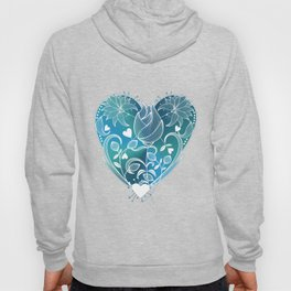 White Inked Floral Heart - Blues Hoody