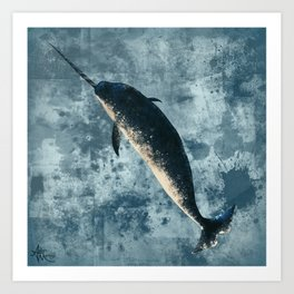 """""""Jackson the Narwhal"""" by Amber Marine ~ Art (Copyright 2015) Art Print"""