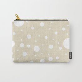 Mixed Polka Dots - White on Pearl Brown Carry-All Pouch
