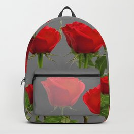 ORIGINAL GARDEN DESIGN OF RED ROSES ON GREY Backpack