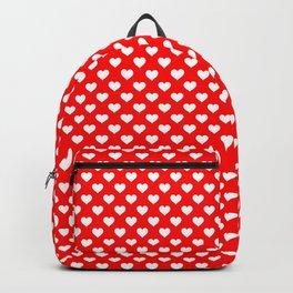 Large White Love Hearts on Australian Flag Red Backpack